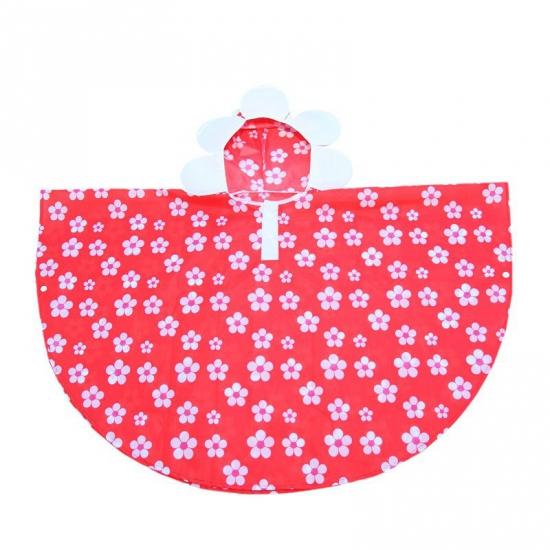 Regenponcho rood met bloemen van polyester
