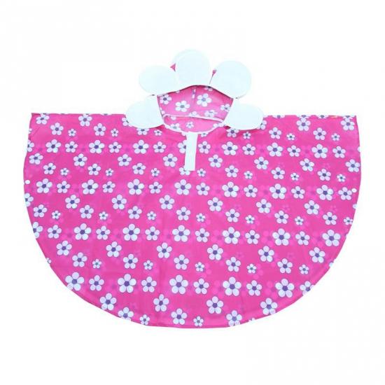 Regenponcho roze met bloemen van polyester
