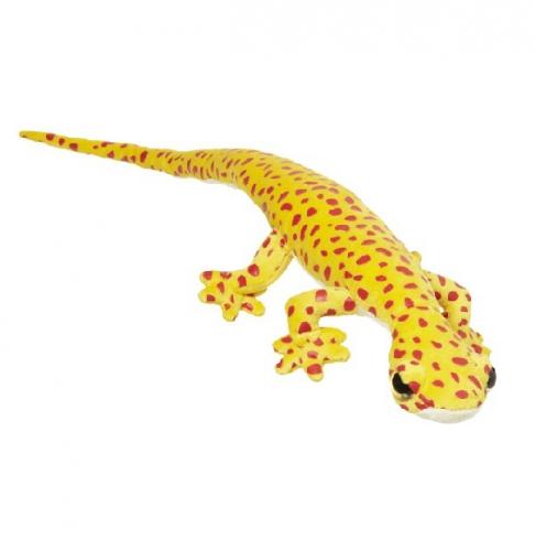 Reptiel knuffel geel met rode stippen