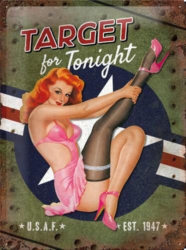 Retro muurplaat Target for Tonight 30 x 40 cm