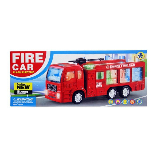 Rode brandweerwagen met licht en geluid
