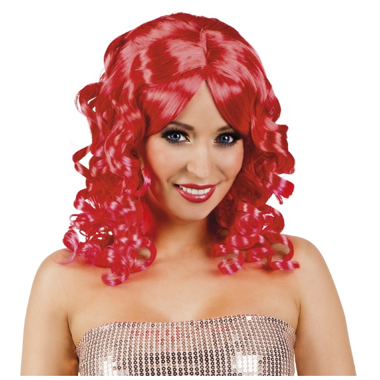 Rode glamour damespruik golvend haar