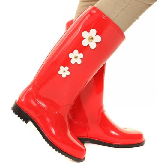 Rode herfstlaarzen met bloemen