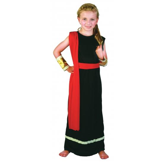 Romeins kostuum zwart rood voor meiden