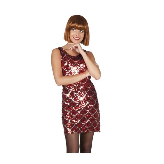 Rood diva jurkje met pailletten