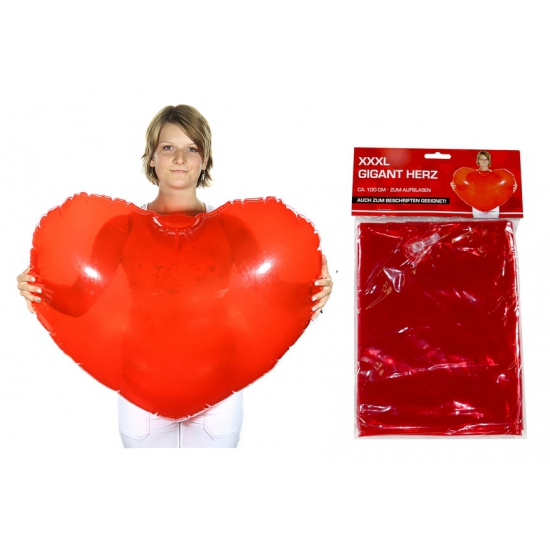 Rood opblaas hart 100 cm