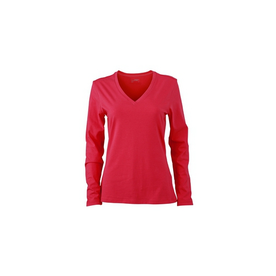 Roze dames cotton stretch shirts LS