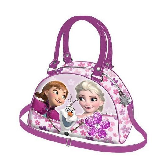 Roze Frozen schoudertassen met bloemen 23 cm