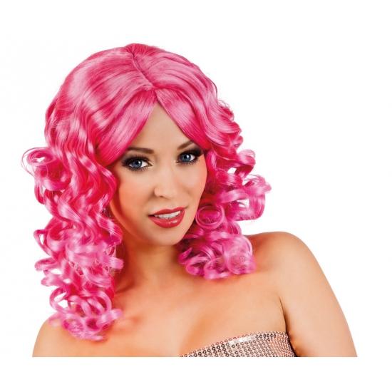 Roze glamour damespruik golvend haar