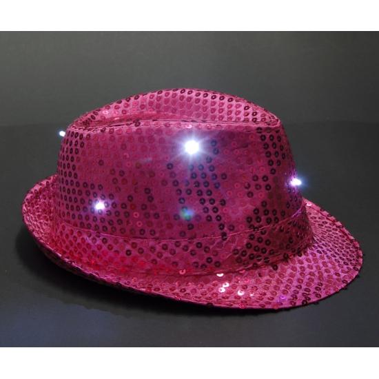 Roze glitter hoedje met LED licht