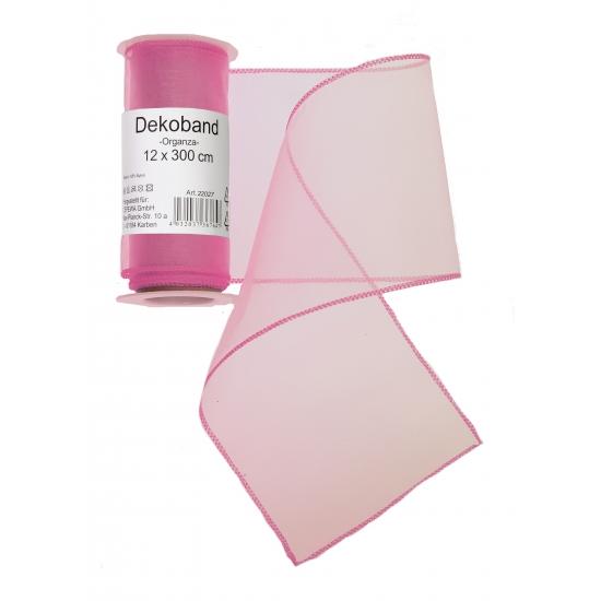 Roze organza strook 12 x 300 cm