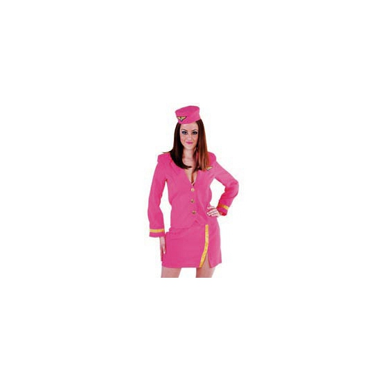 Roze stewardess carnavalskleding