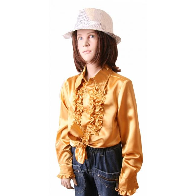 Satijnen blouse goud meisjes