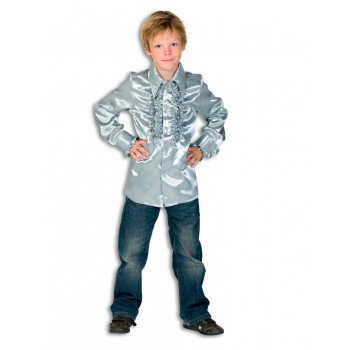 Satijnen blouse zilver jongens