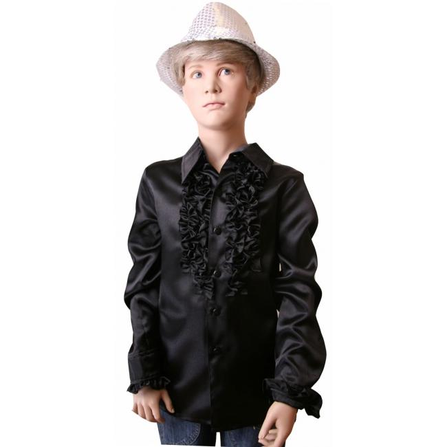 Satijnen blouse zwart jongens