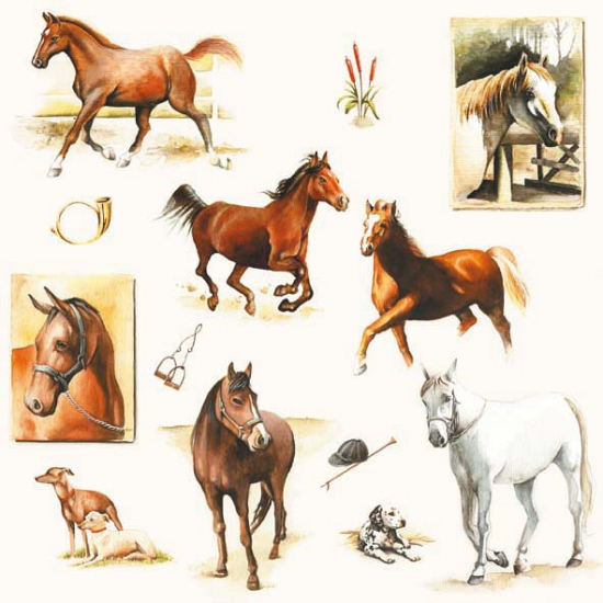 Servetten met paarden print 20 stuks