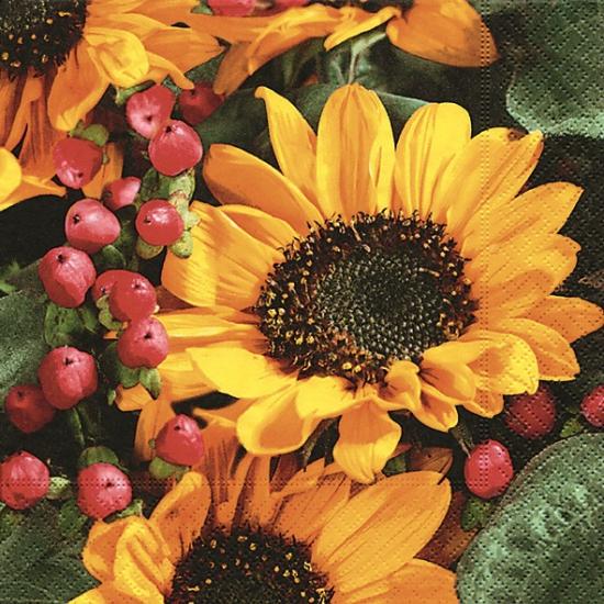 Servetten met zonnebloemen