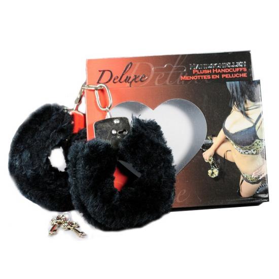 Sexy handboeien zwart pluche