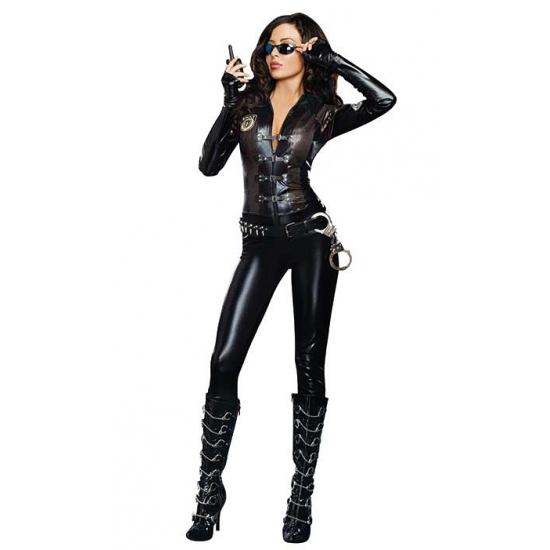 Sexy politie jumpsuit zwart