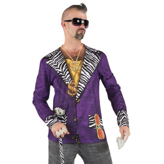 Shirt met Pimp colbert opdruk