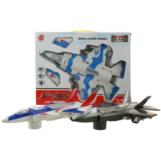 Speelgoed straaljager blauw/wit/rood met licht en geluid