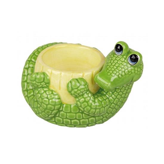 Stenen krokodil eierdop 6 cm