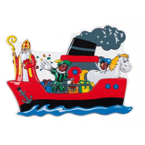 Stoomboot wanddeco plastic 53 x 75 cm