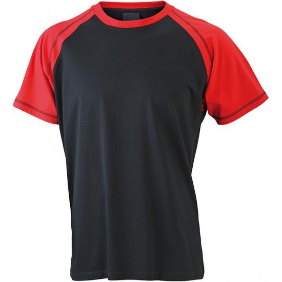 T shirts voor heren in de kleuren zwart en rood