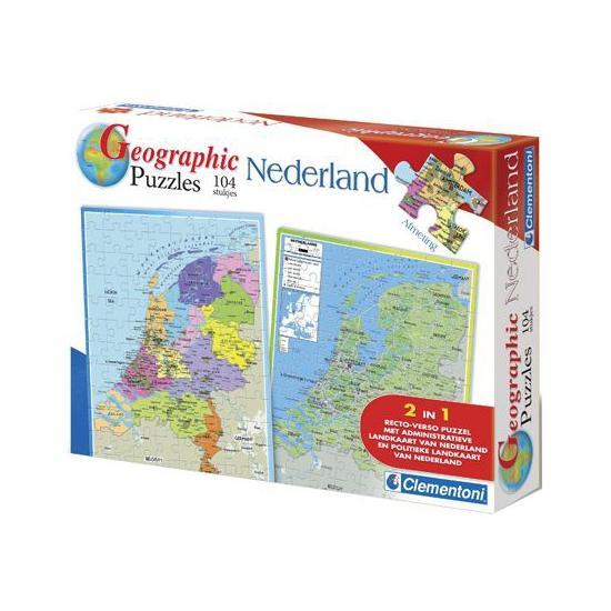 Topografie puzzel Nederland 104 stukjes