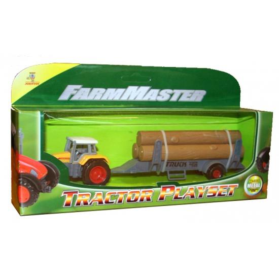 Tractor geel met oplegger met 3 boomstammen