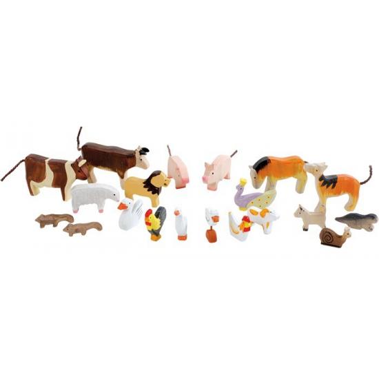 Uit hout gesneden dieren 20 stuks
