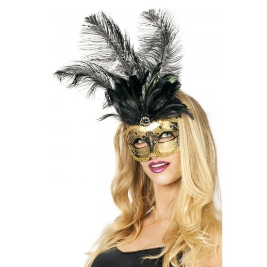 Venetiaans oogmasker goud met zwarte veren
