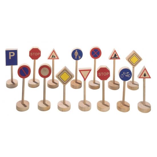 Verkeersborden van hout 15 stuks