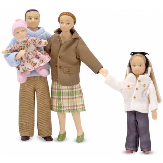 Victoriaanse poppenhuis familie