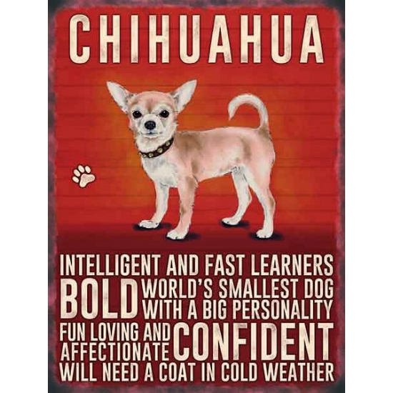 Wand bord Chihuahua 30 x 40 cm