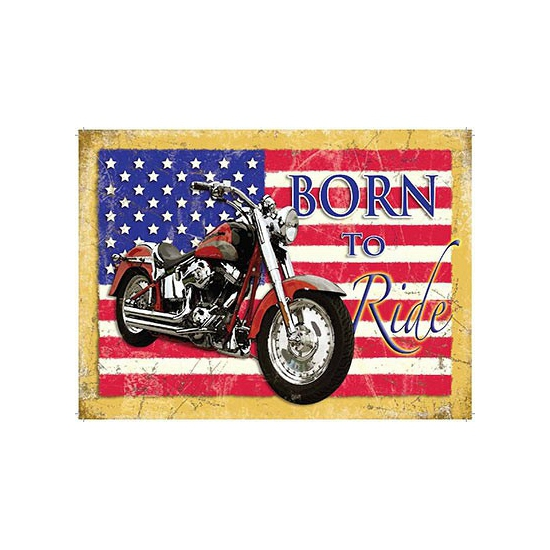 Wandplaat Born to Ride Motor