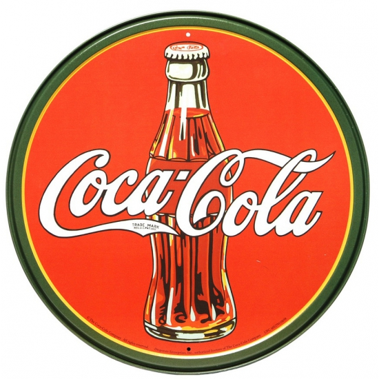 Wandplaatje Coca cola rond 30 cm