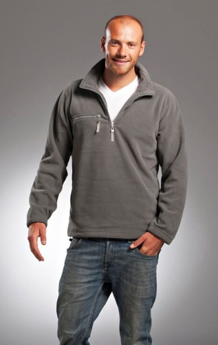 Warme grijs gekleurde fleece trui