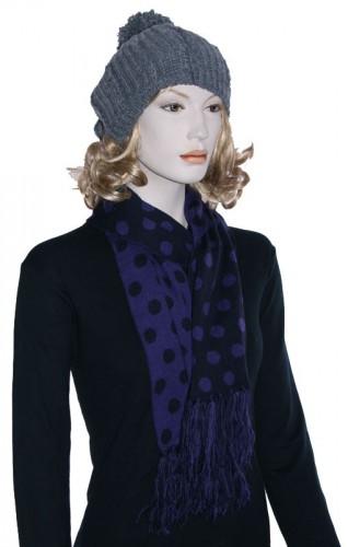 Warme retro sjaal met stippen paars