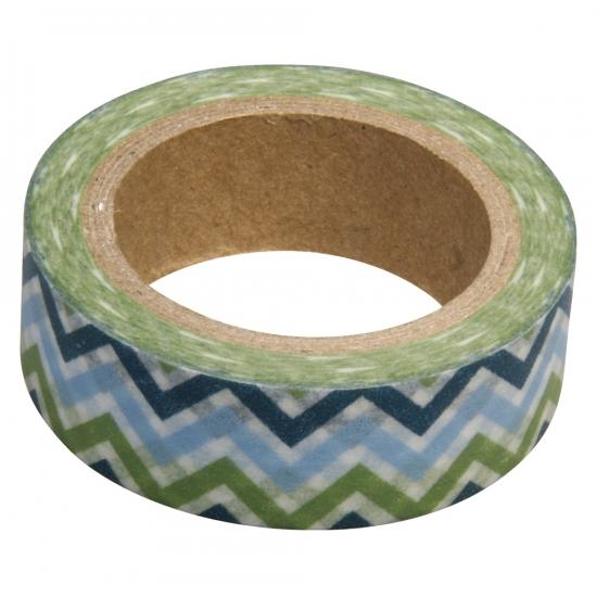 Washi knutsel tape zigzag blauw groen