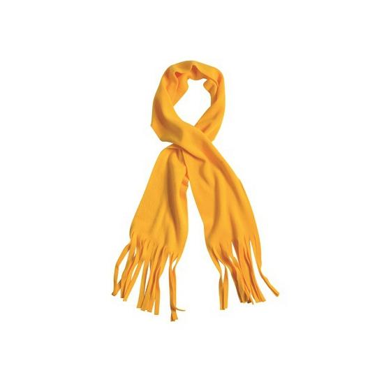 Winter fleece sjaal met franjes oker geel