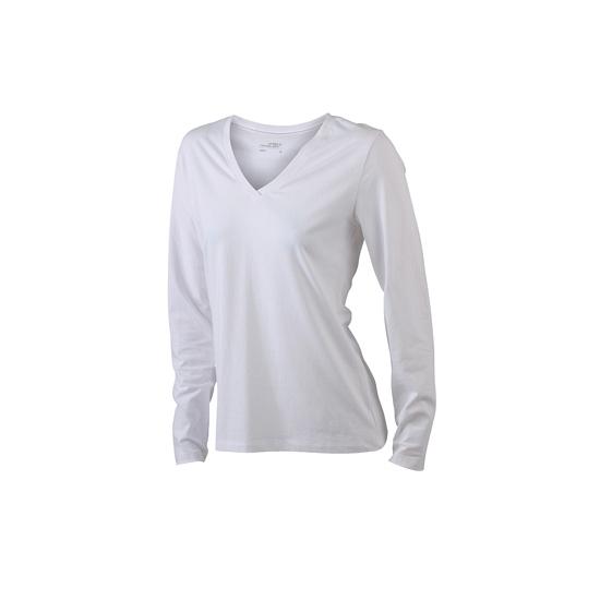 Witte dames cotton stretch shirts LS