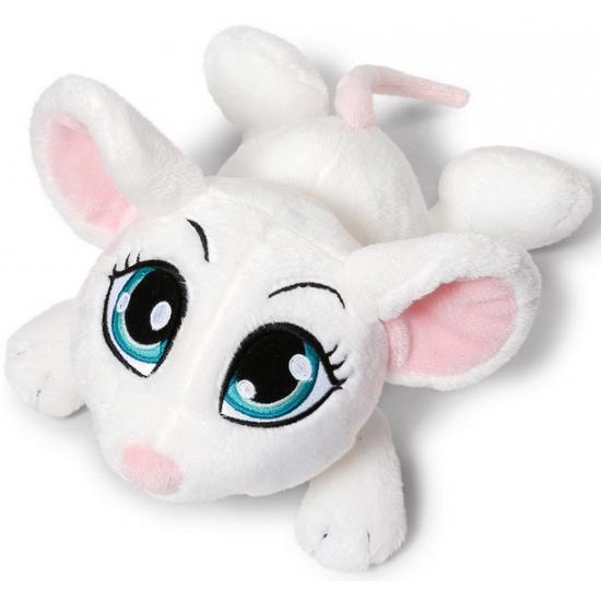 Witte muis knuffel liggend 25 cm