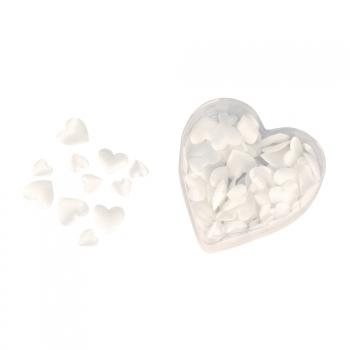 Witte satijnen valentijns strooihartjes