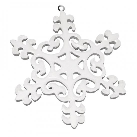 Witte sneeuwvlok van hout 10 cm