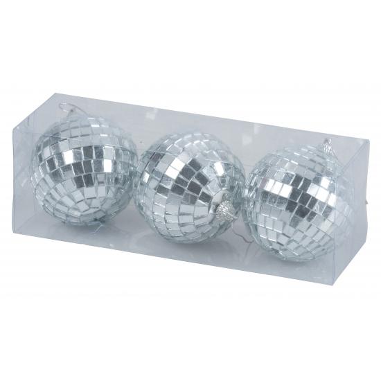 Zilveren disco kerstballen 7 cm