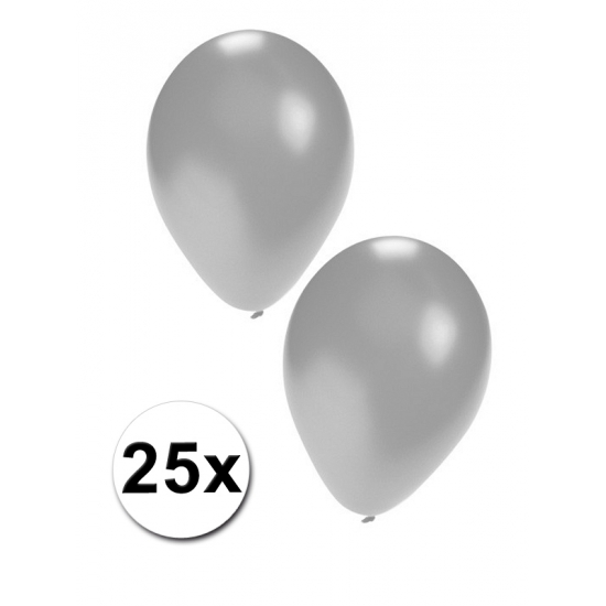 Zilveren feest ballonnen 25x