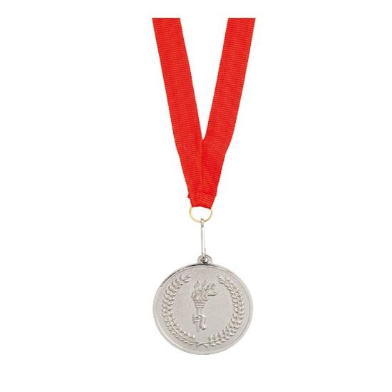 Zilveren medaille aan rood halslint