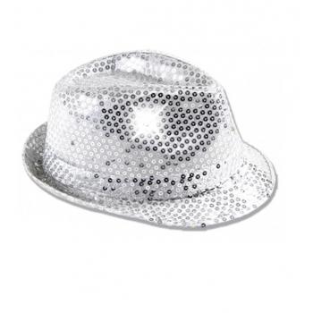 Zilverglitter hoedje met LED licht