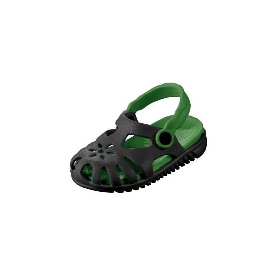 Zwart/groene kids waterschoen sandalen met bloemetje